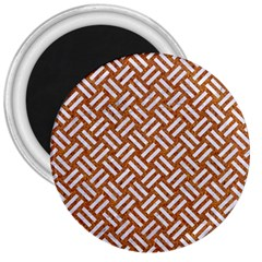 Woven2 White Marble & Rusted Metal 3  Magnets