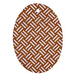 WOVEN2 WHITE MARBLE & RUSTED METAL Ornament (Oval) Front