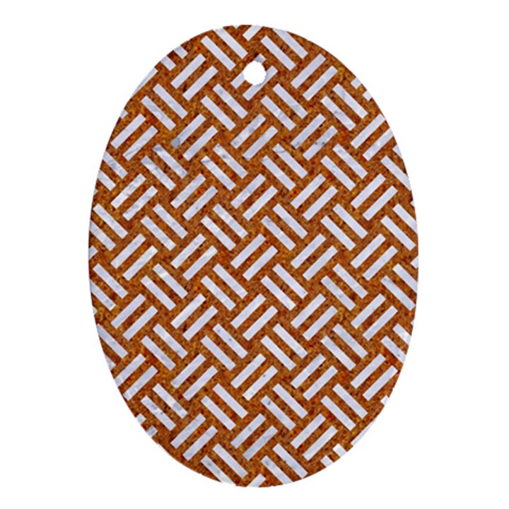 WOVEN2 WHITE MARBLE & RUSTED METAL Ornament (Oval)