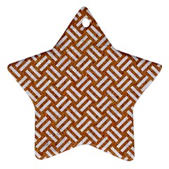 Woven2 White Marble & Rusted Metal Ornament (star)