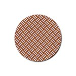 WOVEN2 WHITE MARBLE & RUSTED METAL Rubber Coaster (Round)  Front