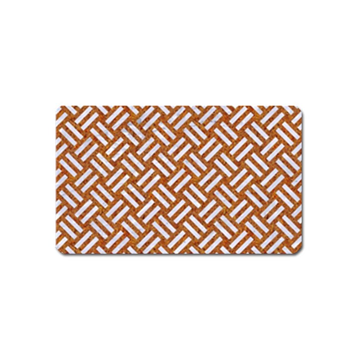WOVEN2 WHITE MARBLE & RUSTED METAL Magnet (Name Card)
