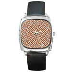 WOVEN2 WHITE MARBLE & RUSTED METAL Square Metal Watch Front