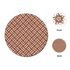 Woven2 White Marble & Rusted Metal Playing Cards (round)  by trendistuff