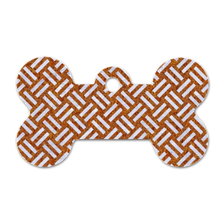 WOVEN2 WHITE MARBLE & RUSTED METAL Dog Tag Bone (Two Sides)