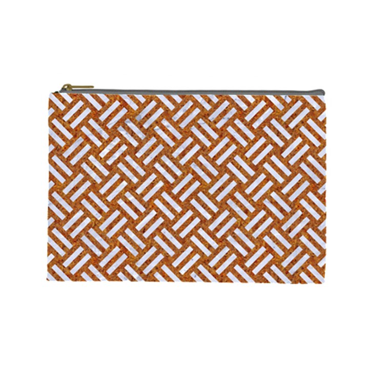 WOVEN2 WHITE MARBLE & RUSTED METAL Cosmetic Bag (Large)