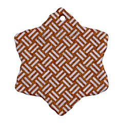 Woven2 White Marble & Rusted Metal Snowflake Ornament (two Sides)