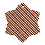 WOVEN2 WHITE MARBLE & RUSTED METAL Snowflake Ornament (Two Sides) Front
