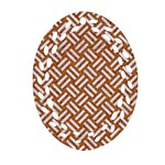 WOVEN2 WHITE MARBLE & RUSTED METAL Ornament (Oval Filigree) Front