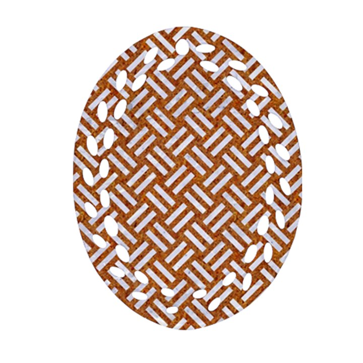 WOVEN2 WHITE MARBLE & RUSTED METAL Ornament (Oval Filigree)