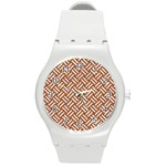 WOVEN2 WHITE MARBLE & RUSTED METAL Round Plastic Sport Watch (M) Front