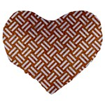 WOVEN2 WHITE MARBLE & RUSTED METAL Large 19  Premium Heart Shape Cushions Back