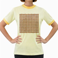Woven1 White Marble & Rusted Metal (r) Women s Fitted Ringer T Shirts