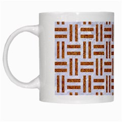 Woven1 White Marble & Rusted Metal (r) White Mugs by trendistuff