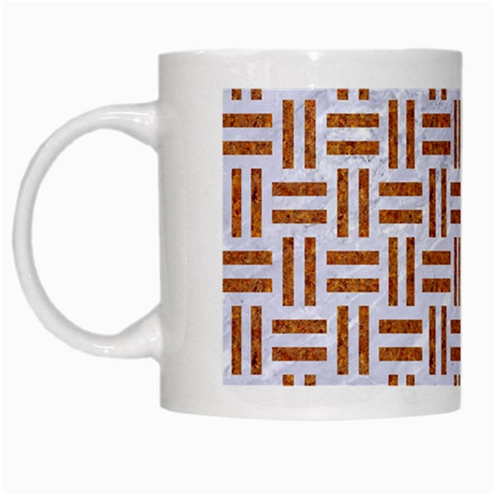 WOVEN1 WHITE MARBLE & RUSTED METAL (R) White Mugs