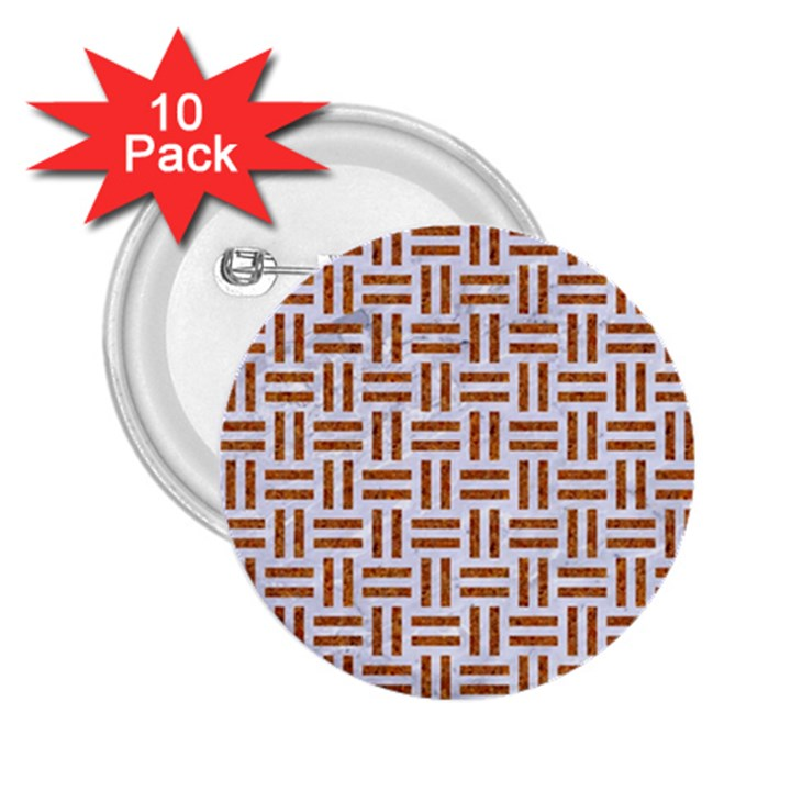 WOVEN1 WHITE MARBLE & RUSTED METAL (R) 2.25  Buttons (10 pack)