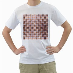 Woven1 White Marble & Rusted Metal (r) Men s T Shirt (white) (two Sided)