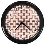 WOVEN1 WHITE MARBLE & RUSTED METAL (R) Wall Clocks (Black) Front