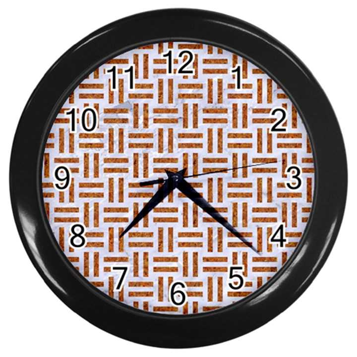 WOVEN1 WHITE MARBLE & RUSTED METAL (R) Wall Clocks (Black)