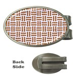 WOVEN1 WHITE MARBLE & RUSTED METAL (R) Money Clips (Oval)  Front