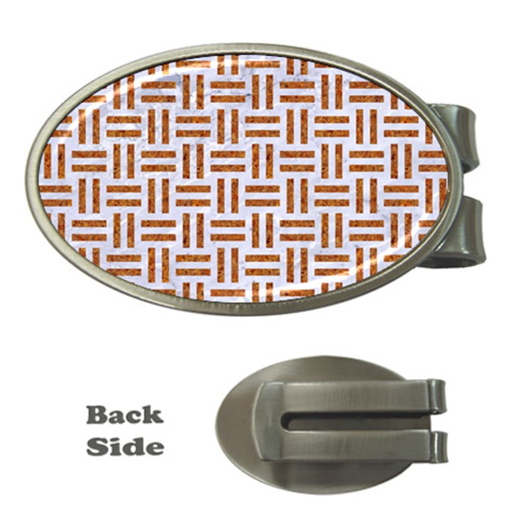 WOVEN1 WHITE MARBLE & RUSTED METAL (R) Money Clips (Oval)