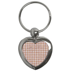 Woven1 White Marble & Rusted Metal (r) Key Chains (heart)