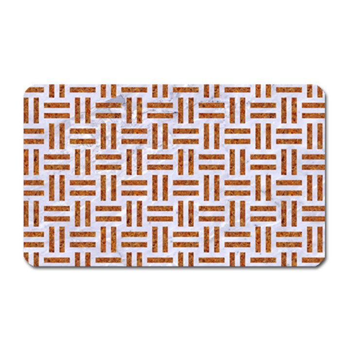 WOVEN1 WHITE MARBLE & RUSTED METAL (R) Magnet (Rectangular)