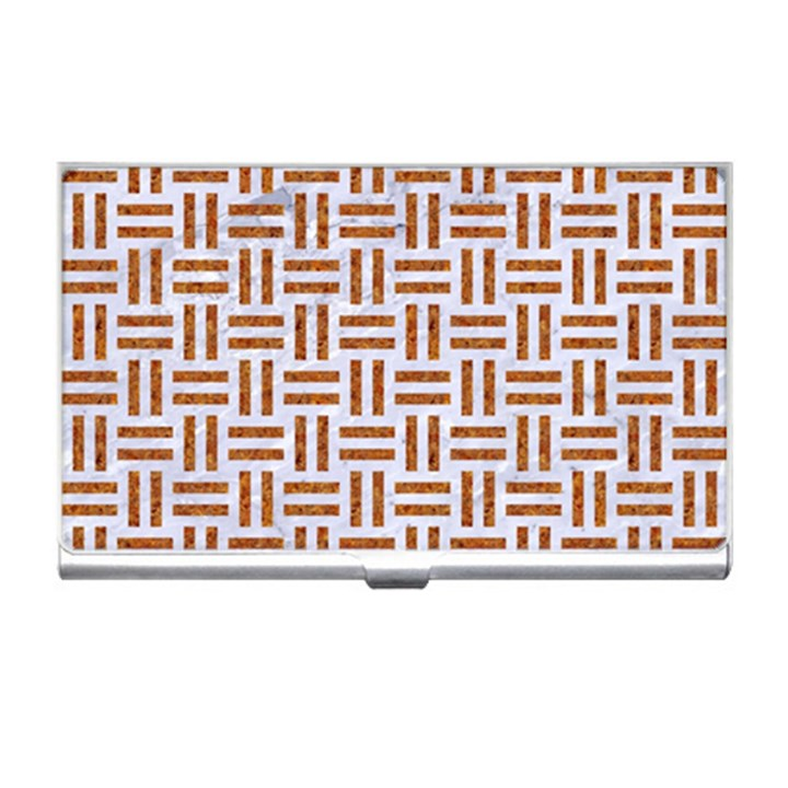 WOVEN1 WHITE MARBLE & RUSTED METAL (R) Business Card Holders
