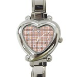 WOVEN1 WHITE MARBLE & RUSTED METAL (R) Heart Italian Charm Watch Front