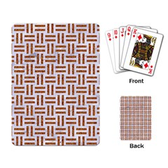 Woven1 White Marble & Rusted Metal (r) Playing Card by trendistuff