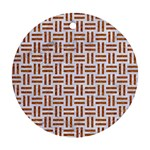 WOVEN1 WHITE MARBLE & RUSTED METAL (R) Round Ornament (Two Sides) Front