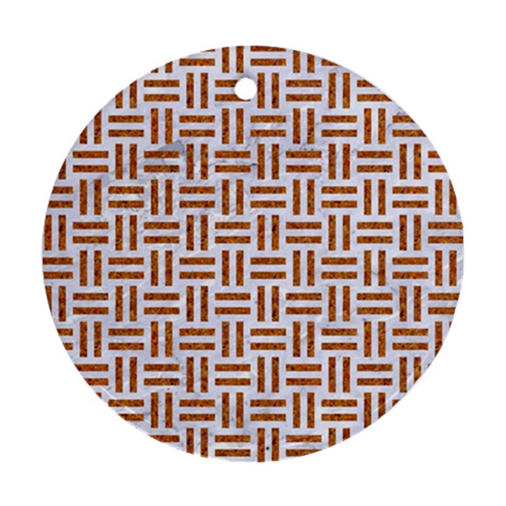 WOVEN1 WHITE MARBLE & RUSTED METAL (R) Round Ornament (Two Sides)