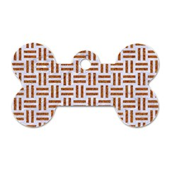 Woven1 White Marble & Rusted Metal (r) Dog Tag Bone (two Sides) by trendistuff