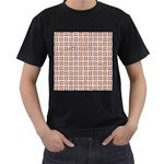 WOVEN1 WHITE MARBLE & RUSTED METAL (R) Men s T-Shirt (Black) Front