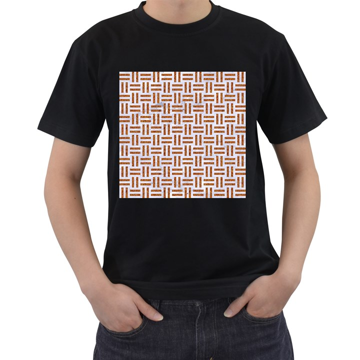 WOVEN1 WHITE MARBLE & RUSTED METAL (R) Men s T-Shirt (Black)