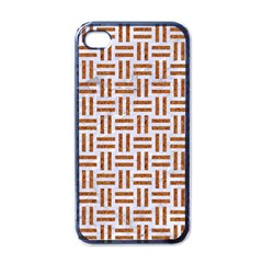 Woven1 White Marble & Rusted Metal (r) Apple Iphone 4 Case (black)