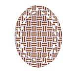WOVEN1 WHITE MARBLE & RUSTED METAL (R) Ornament (Oval Filigree) Front