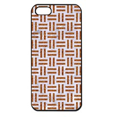 Woven1 White Marble & Rusted Metal (r) Apple Iphone 5 Seamless Case (black) by trendistuff