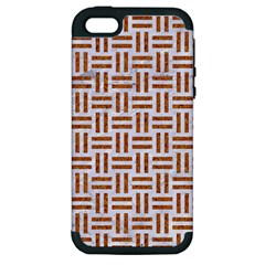 Woven1 White Marble & Rusted Metal (r) Apple Iphone 5 Hardshell Case (pc+silicone) by trendistuff
