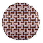 WOVEN1 WHITE MARBLE & RUSTED METAL (R) Large 18  Premium Round Cushions Back