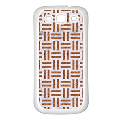 Woven1 White Marble & Rusted Metal (r) Samsung Galaxy S3 Back Case (white) by trendistuff