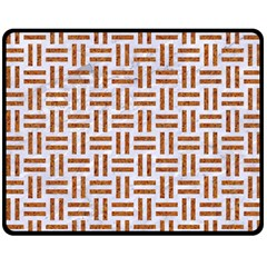 Woven1 White Marble & Rusted Metal (r) Double Sided Fleece Blanket (medium)