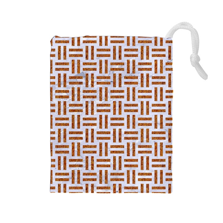 WOVEN1 WHITE MARBLE & RUSTED METAL (R) Drawstring Pouches (Large)