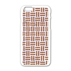 Woven1 White Marble & Rusted Metal (r) Apple Iphone 6/6s White Enamel Case by trendistuff
