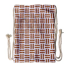 Woven1 White Marble & Rusted Metal (r) Drawstring Bag (large)