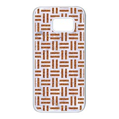 Woven1 White Marble & Rusted Metal (r) Samsung Galaxy S7 White Seamless Case by trendistuff