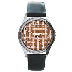 Woven1 White Marble & Rusted Metal Round Metal Watch by trendistuff