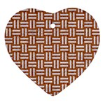 WOVEN1 WHITE MARBLE & RUSTED METAL Ornament (Heart) Front