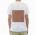 WOVEN1 WHITE MARBLE & RUSTED METAL Men s T-Shirt (White) (Two Sided) Back