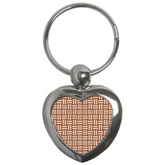WOVEN1 WHITE MARBLE & RUSTED METAL Key Chains (Heart)